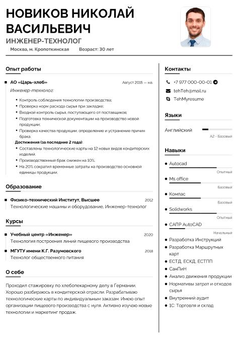 резюме инженера-технолога образец