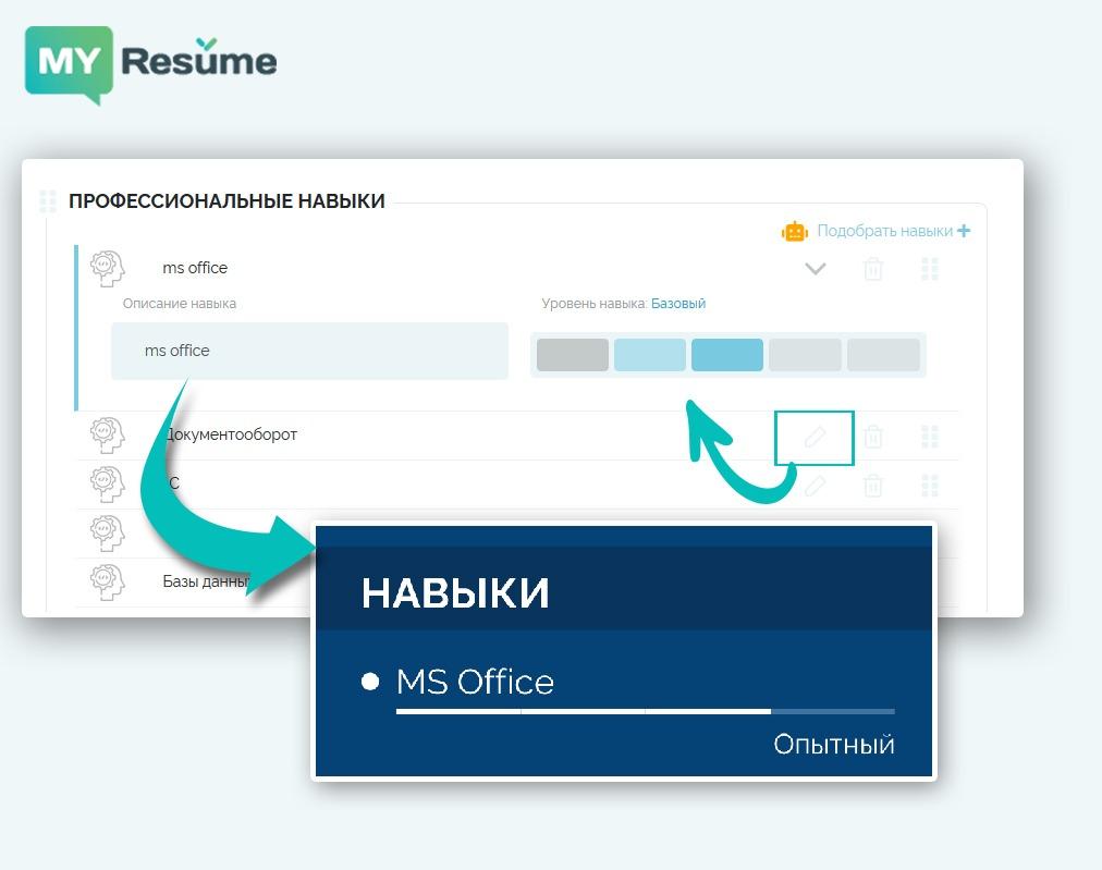 уровень владения навыками в резюме: конструктор myresume.ru
